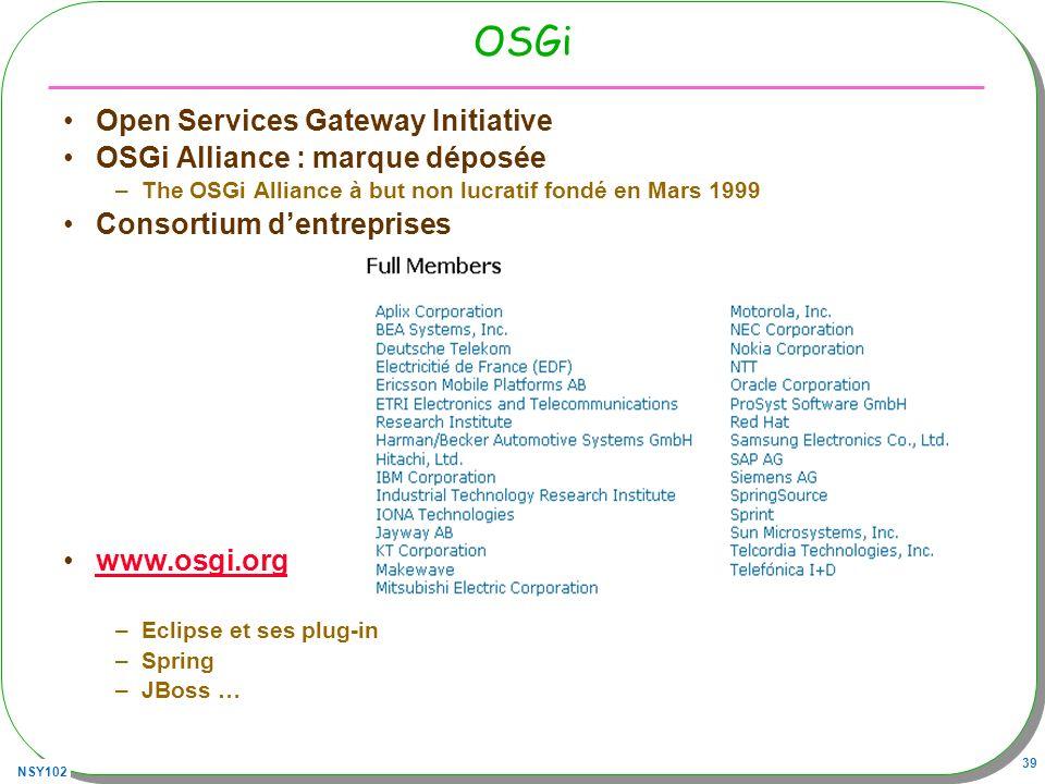 OSGi Open Services Gateway Initiative OSGi Alliance : marque déposée