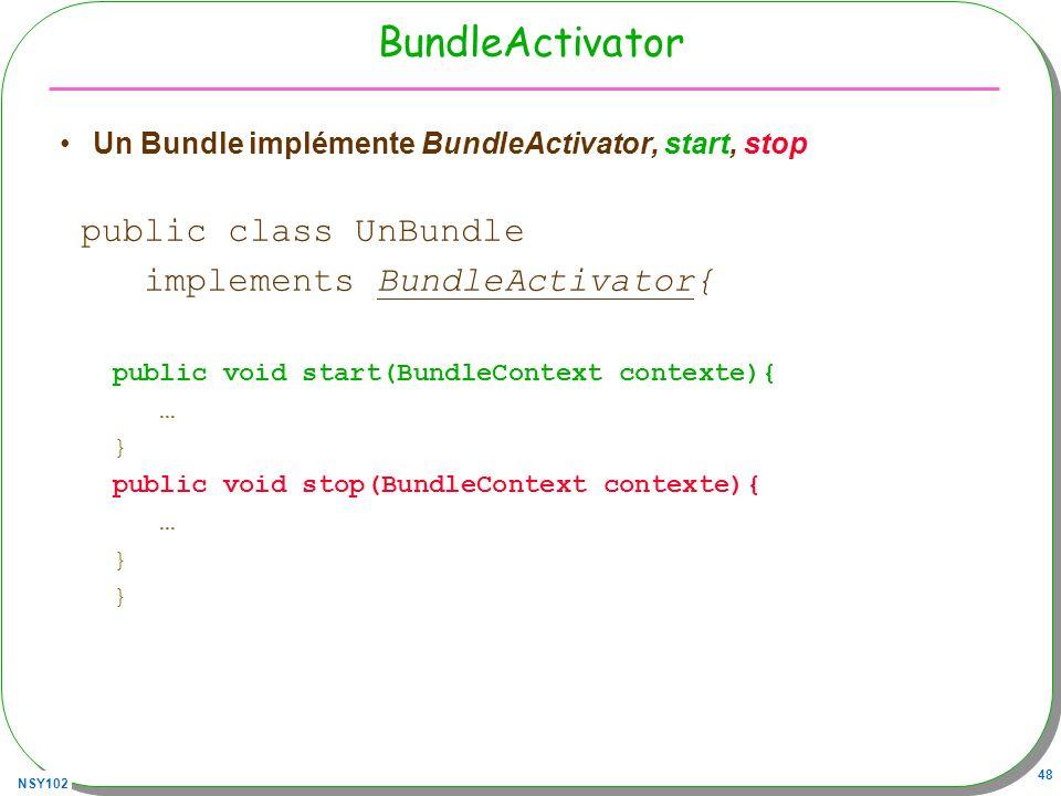 BundleActivator public class UnBundle implements BundleActivator{