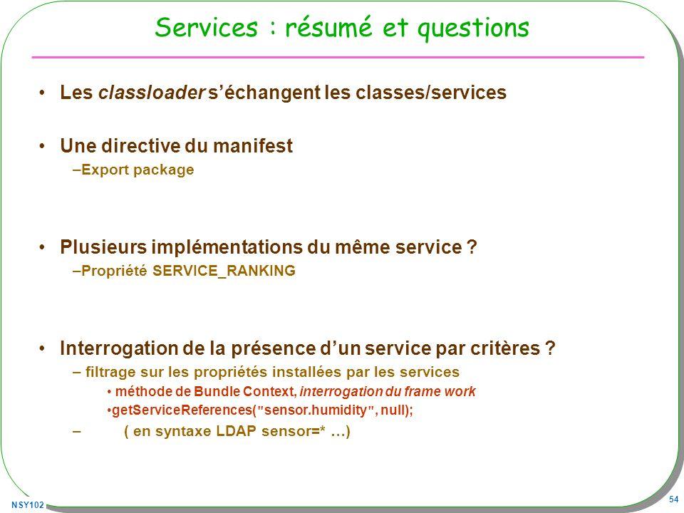 Services : résumé et questions