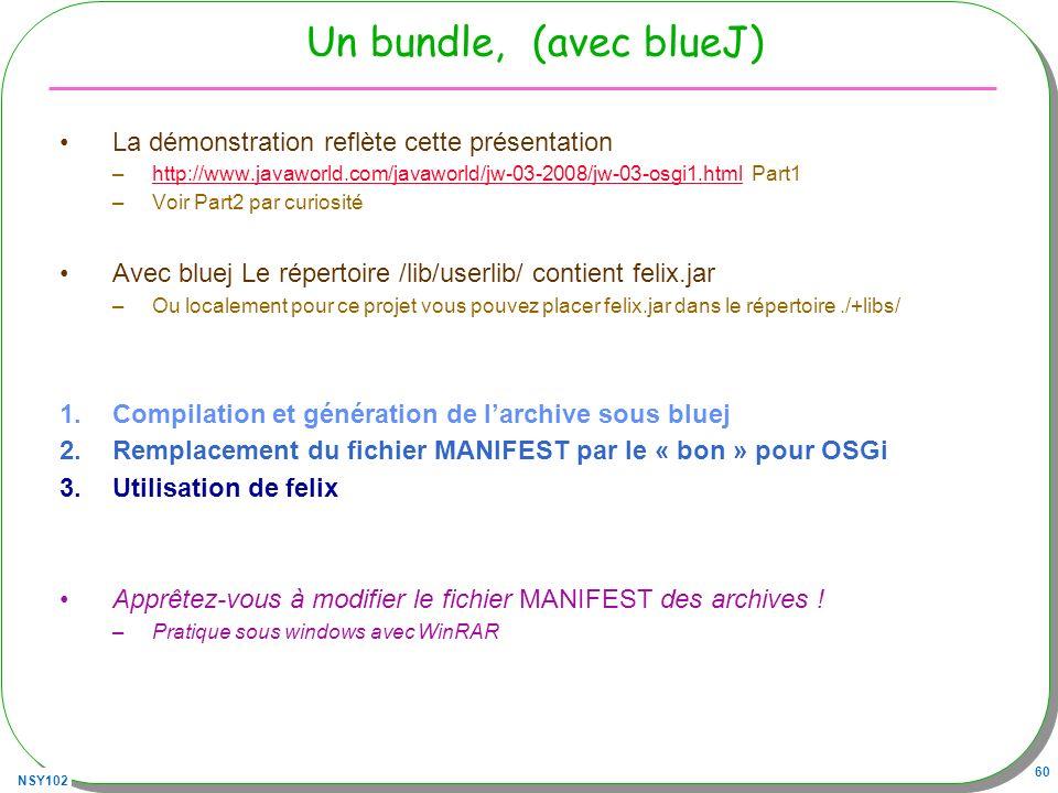 Un bundle, (avec blueJ) La démonstration reflète cette présentation