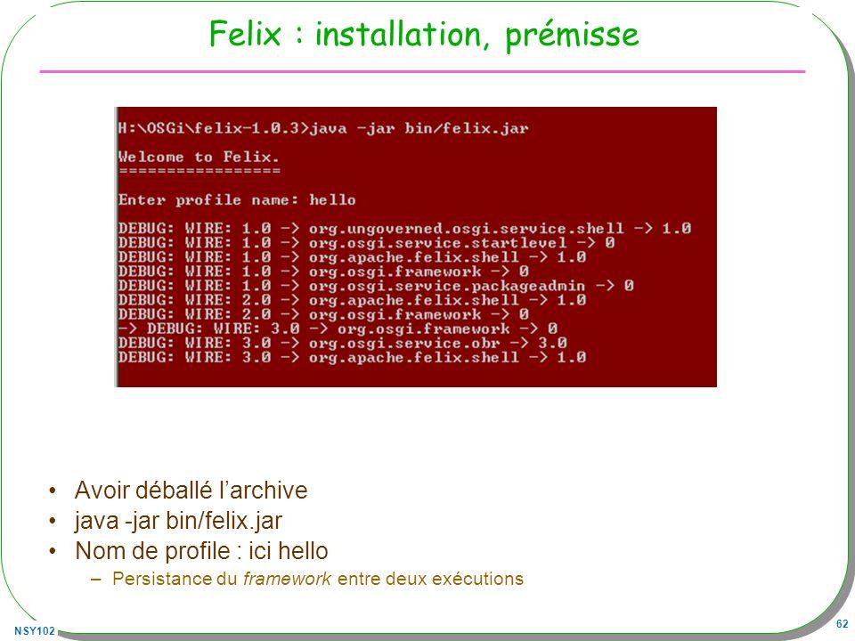 Felix : installation, prémisse