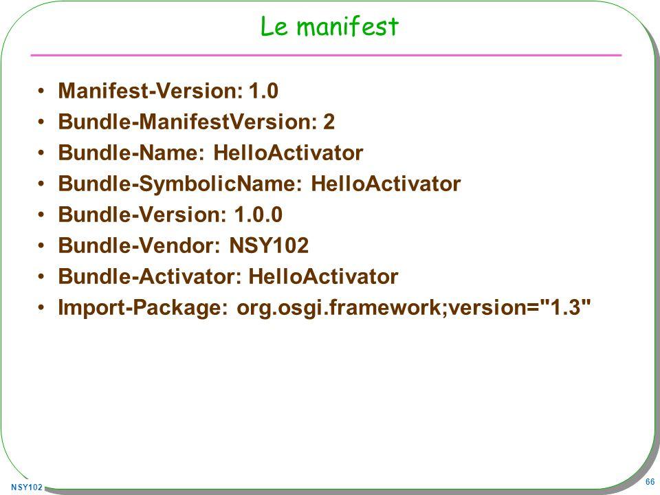 Le manifest Manifest-Version: 1.0 Bundle-ManifestVersion: 2