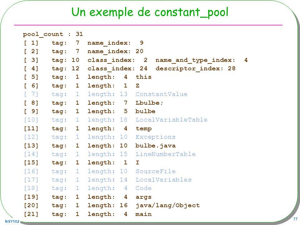 Un exemple de constant_pool