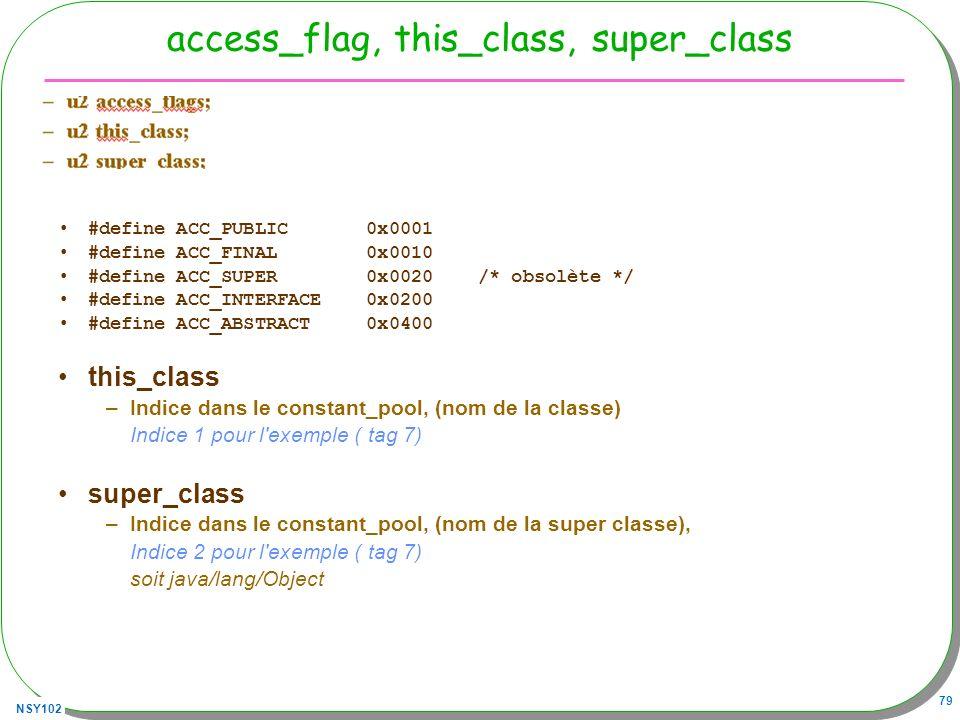 access_flag, this_class, super_class