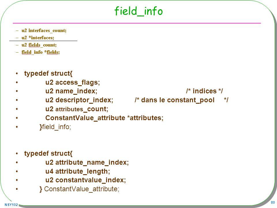 field_info typedef struct{ u2 access_flags;