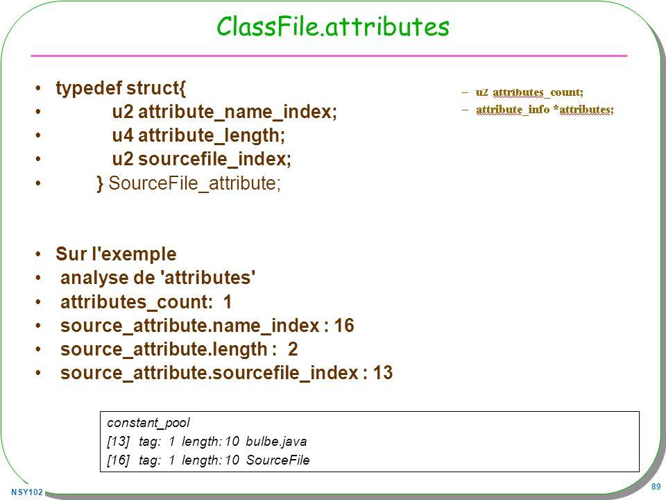 ClassFile.attributes typedef struct{ u2 attribute_name_index;