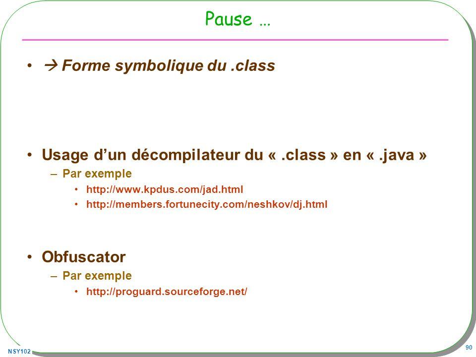 Pause …  Forme symbolique du .class