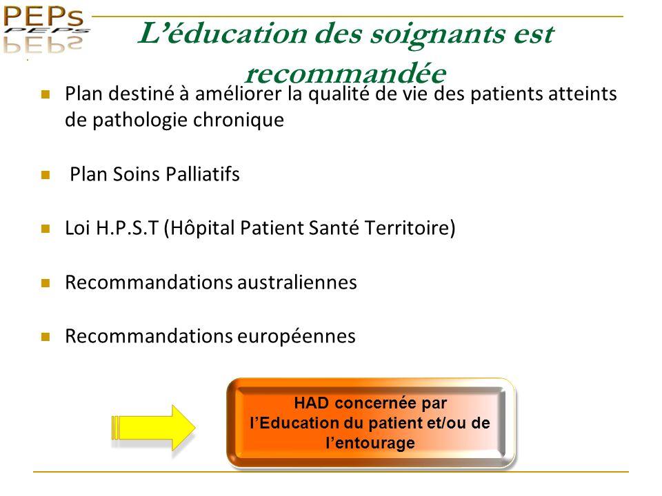 L'éducation des soignants est recommandée