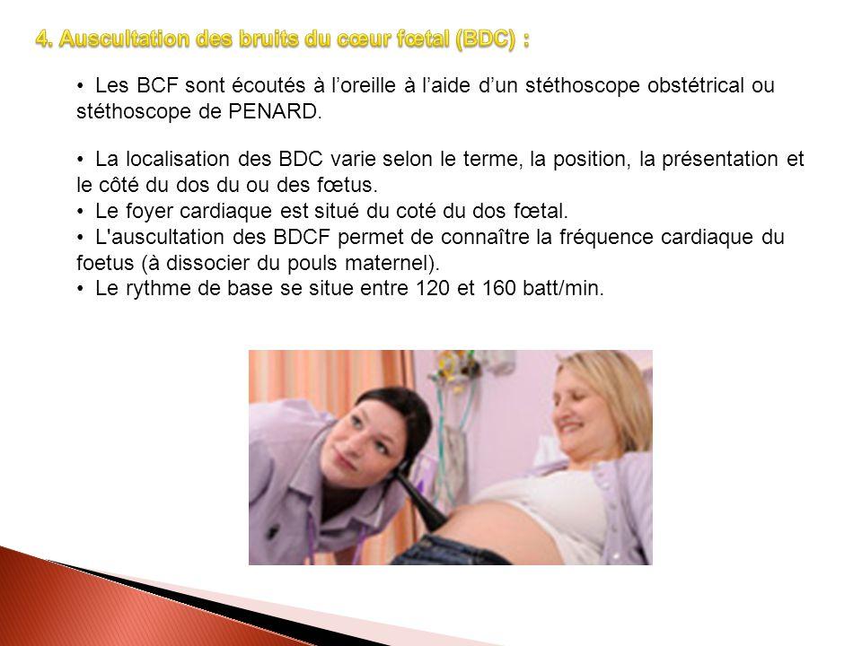 4. Auscultation des bruits du cœur fœtal (BDC) :