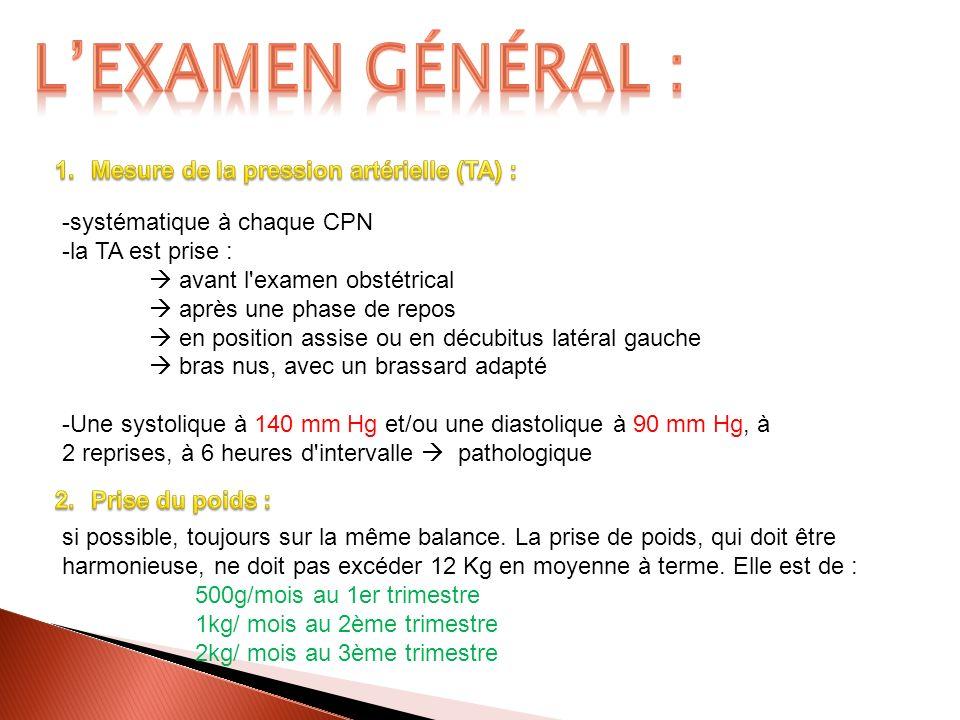 L'examen général : Mesure de la pression artérielle (TA) :