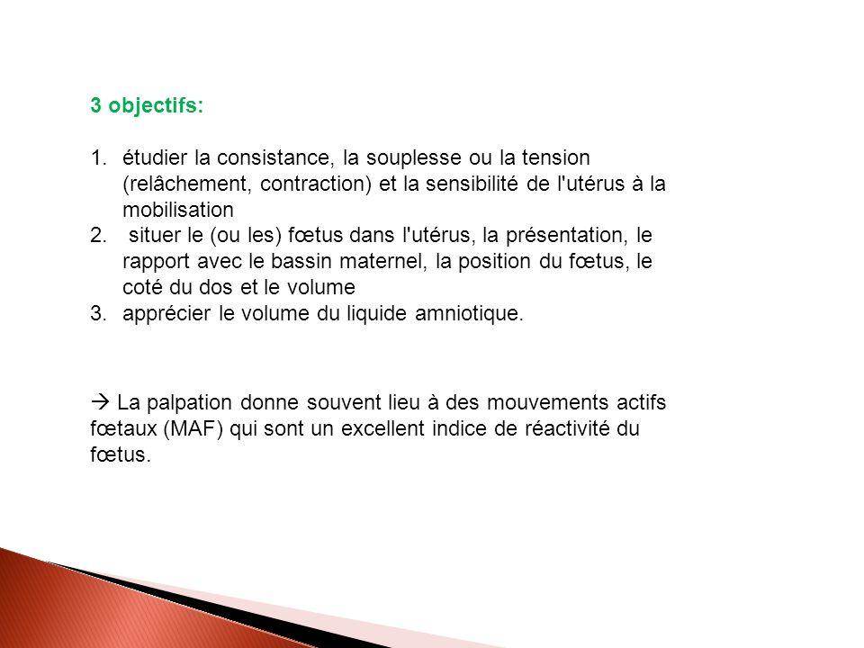 3 objectifs: étudier la consistance, la souplesse ou la tension (relâchement, contraction) et la sensibilité de l utérus à la mobilisation.