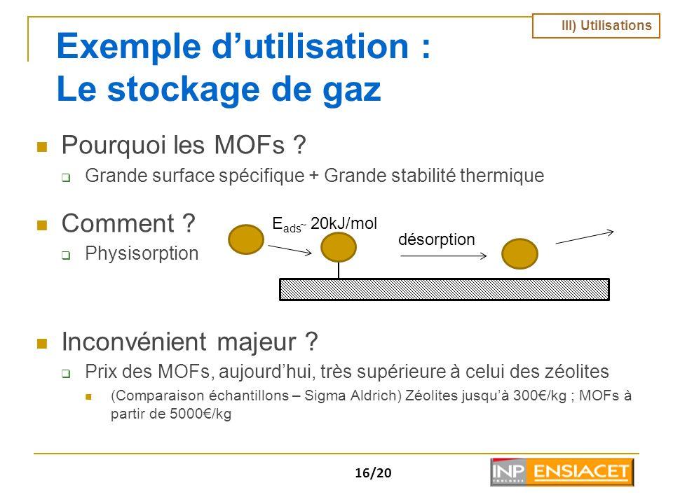 Exemple d'utilisation : Le stockage de gaz