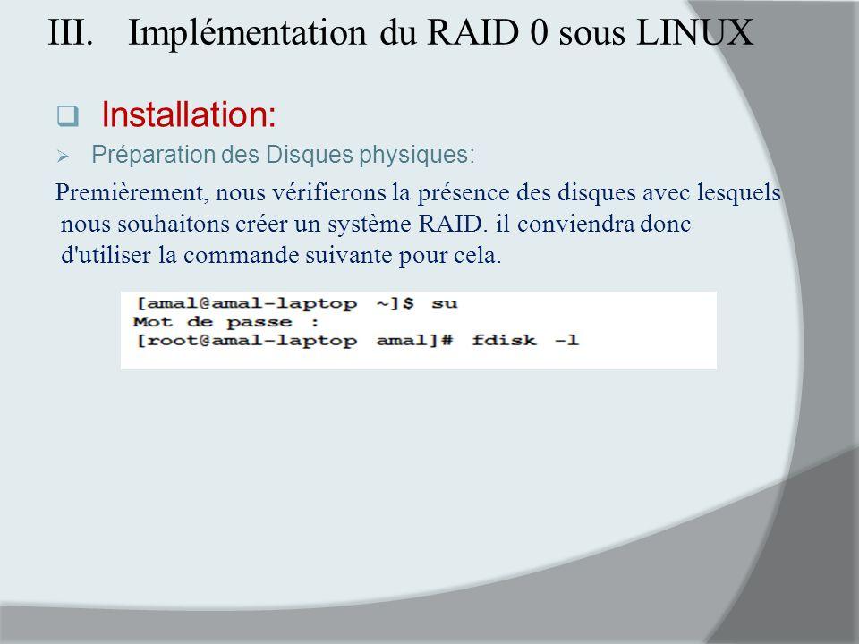 Implémentation du RAID 0 sous LINUX
