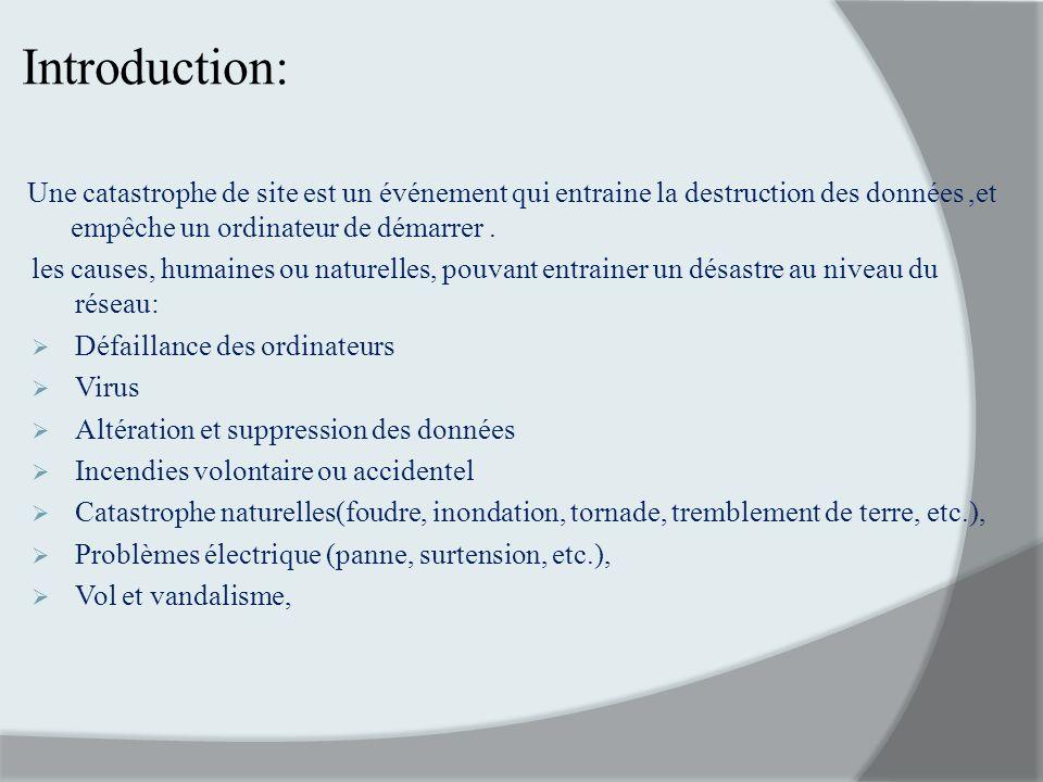 Introduction: Une catastrophe de site est un événement qui entraine la destruction des données ,et empêche un ordinateur de démarrer .
