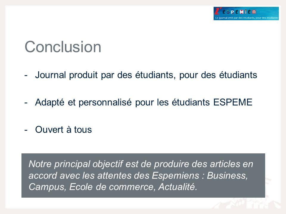 Conclusion Journal produit par des étudiants, pour des étudiants
