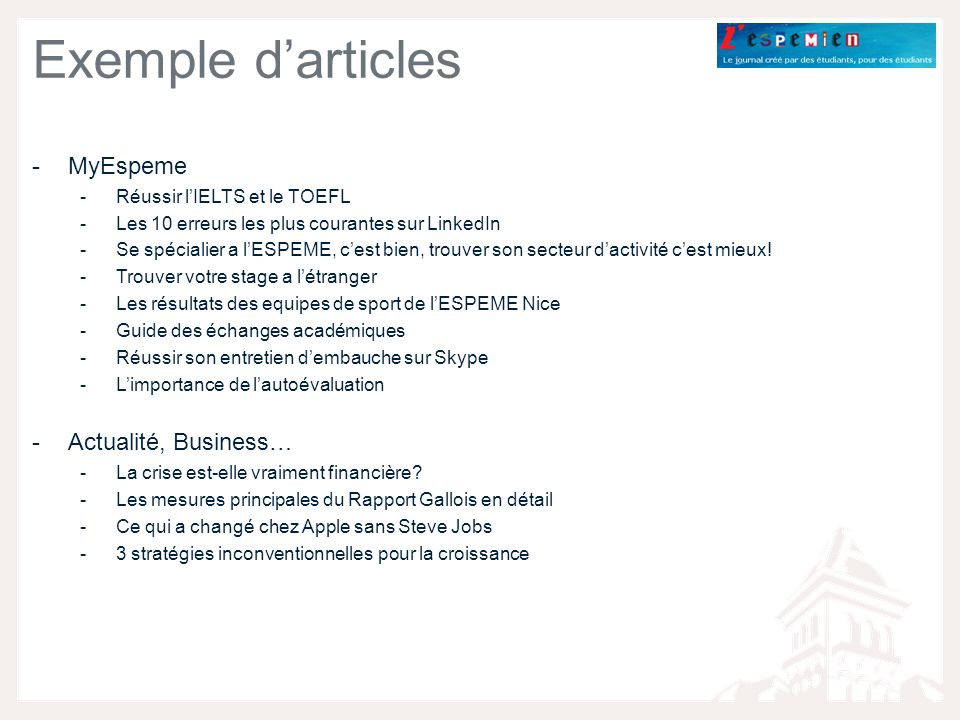 Exemple d'articles MyEspeme Actualité, Business…