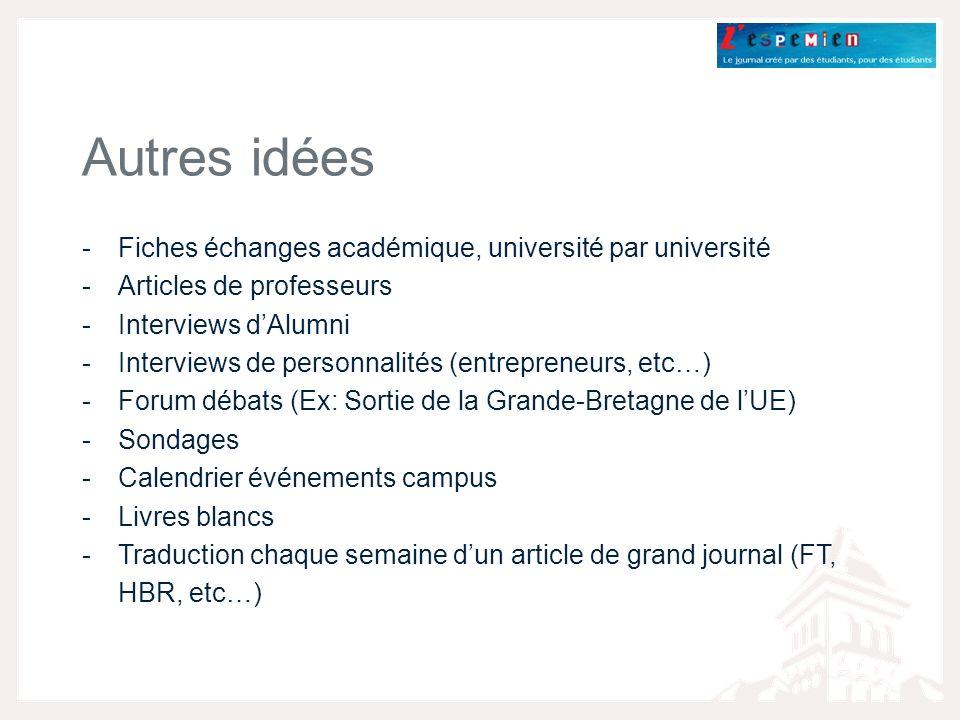 Autres idées Fiches échanges académique, université par université