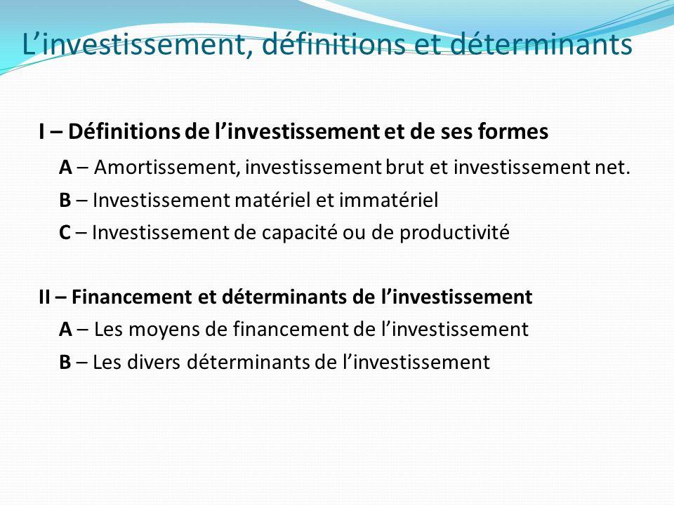 L'investissement, définitions et déterminants