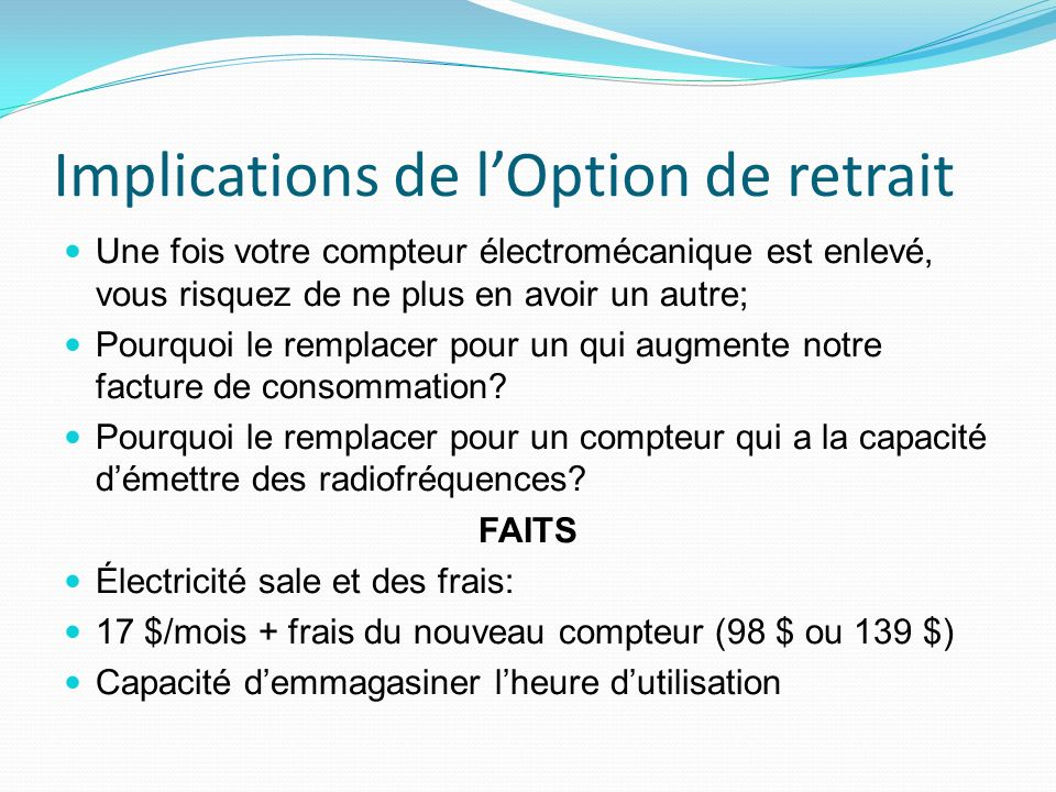 Implications de l'Option de retrait