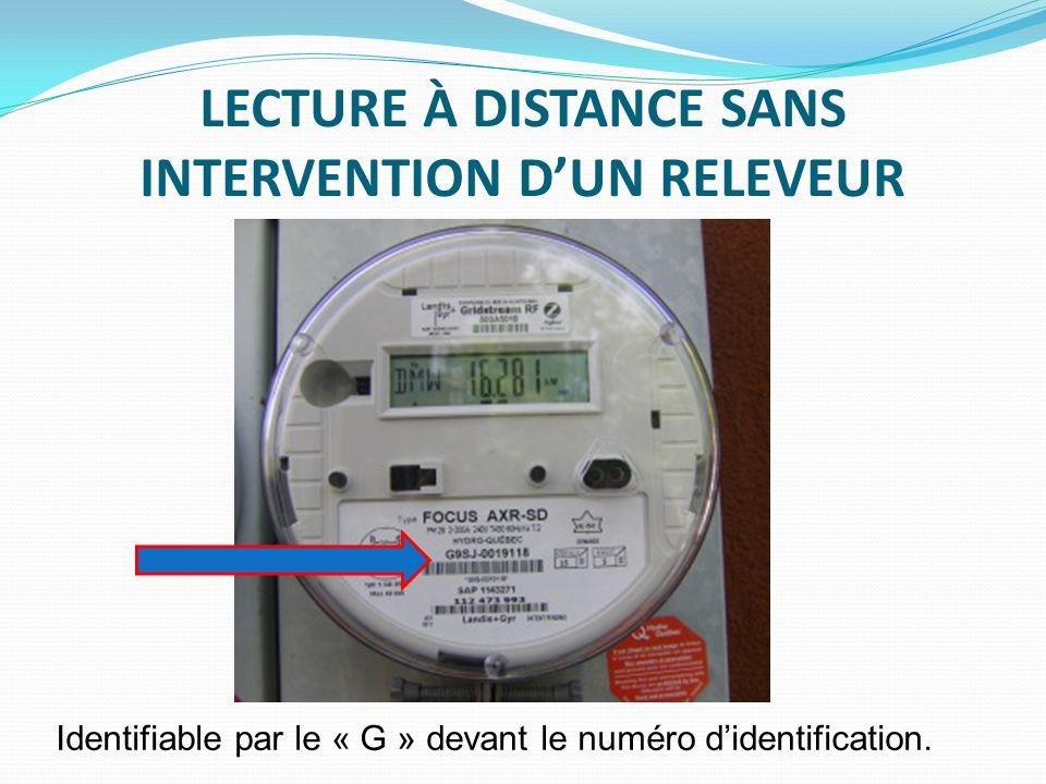 LECTURE À DISTANCE SANS INTERVENTION D'UN RELEVEUR