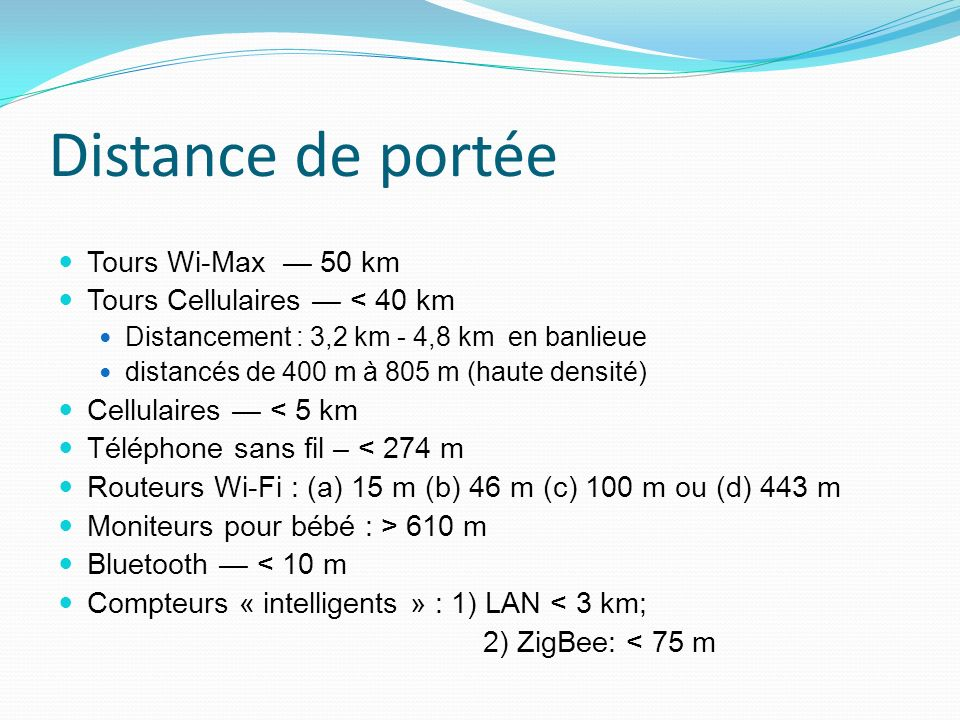 Distance de portée Tours Wi-Max — 50 km Tours Cellulaires — < 40 km