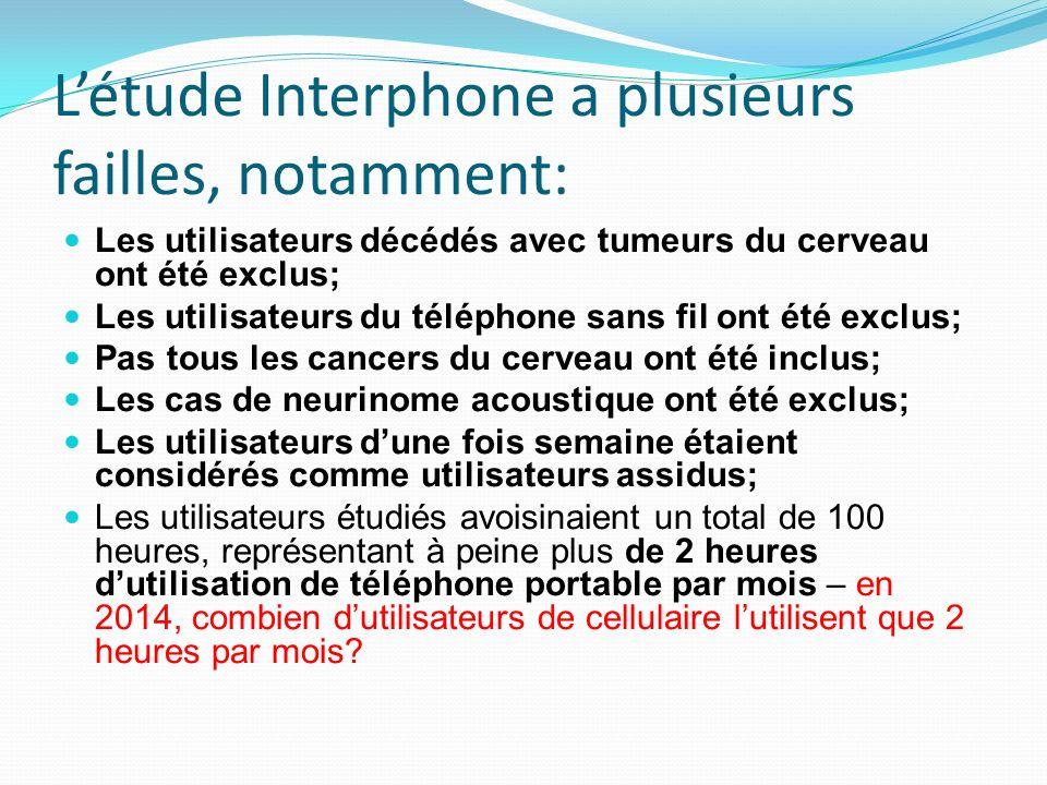 L'étude Interphone a plusieurs failles, notamment: