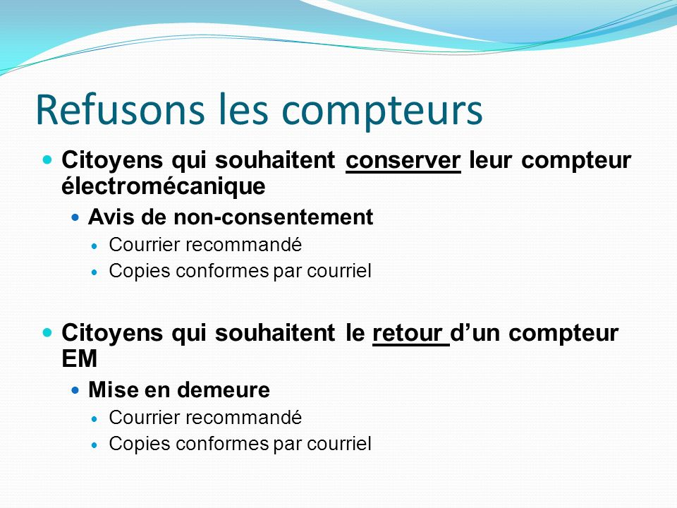 Refusons les compteurs