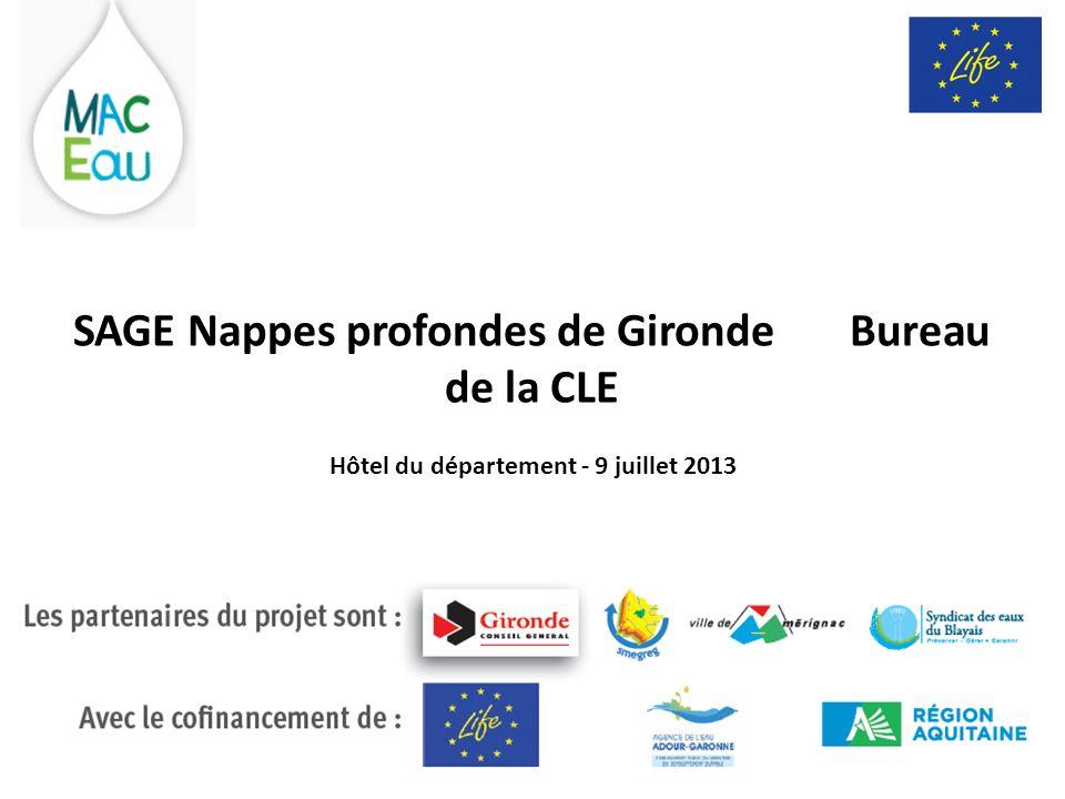 SAGE Nappes profondes de Gironde Bureau de la CLE