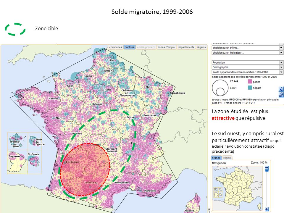 Solde migratoire, 1999-2006 Zone cible