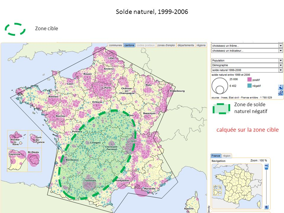 Solde naturel, 1999-2006 calquée sur la zone cible Zone cible