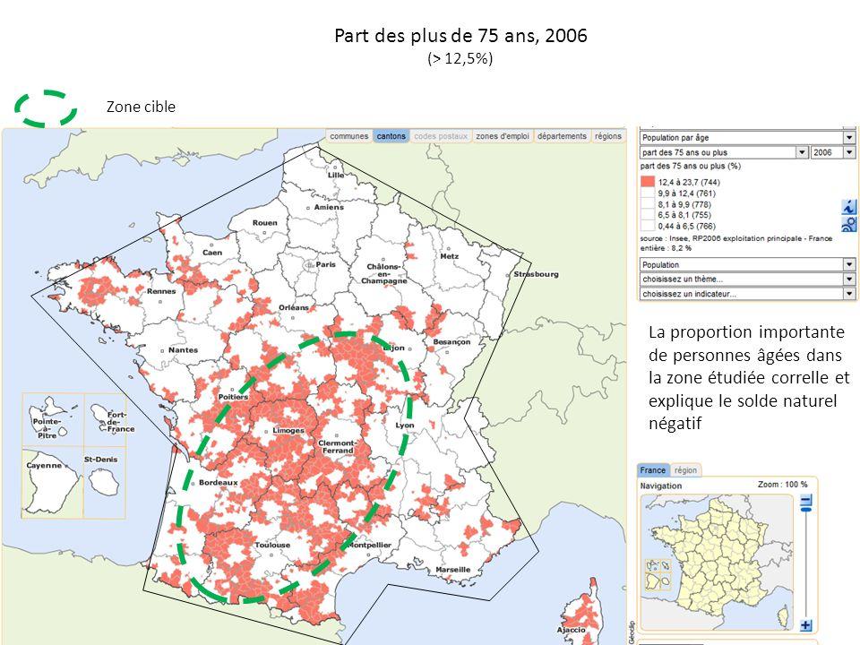 Part des plus de 75 ans, 2006 (> 12,5%) Zone cible.