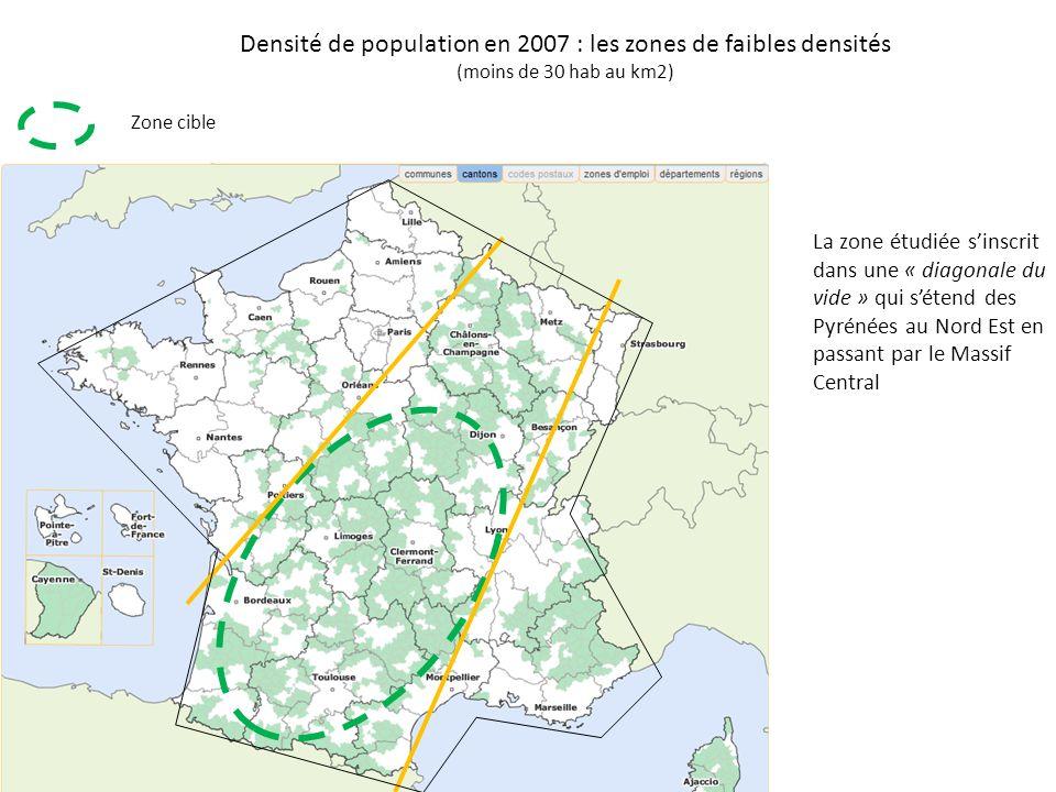Densité de population en 2007 : les zones de faibles densités (moins de 30 hab au km2)