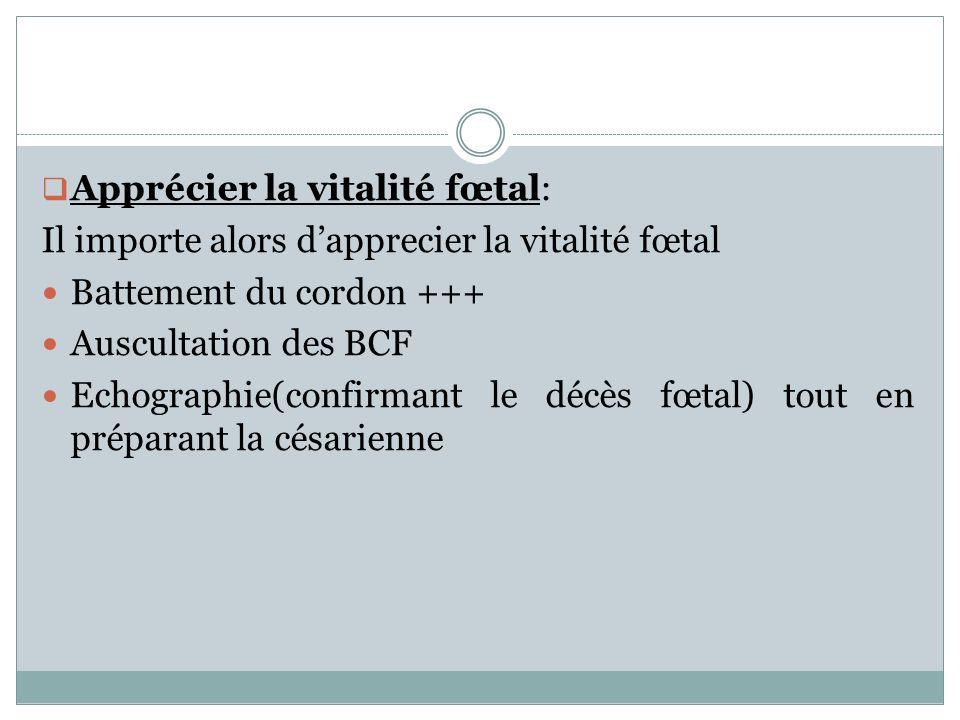 Apprécier la vitalité fœtal: