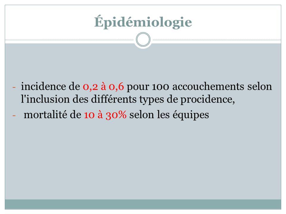 Épidémiologie incidence de 0,2 à 0,6 pour 100 accouchements selon l inclusion des différents types de procidence,