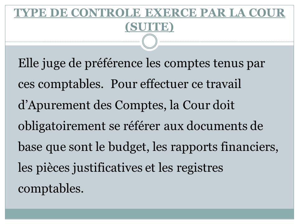 TYPE DE CONTROLE EXERCE PAR LA COUR (SUITE)