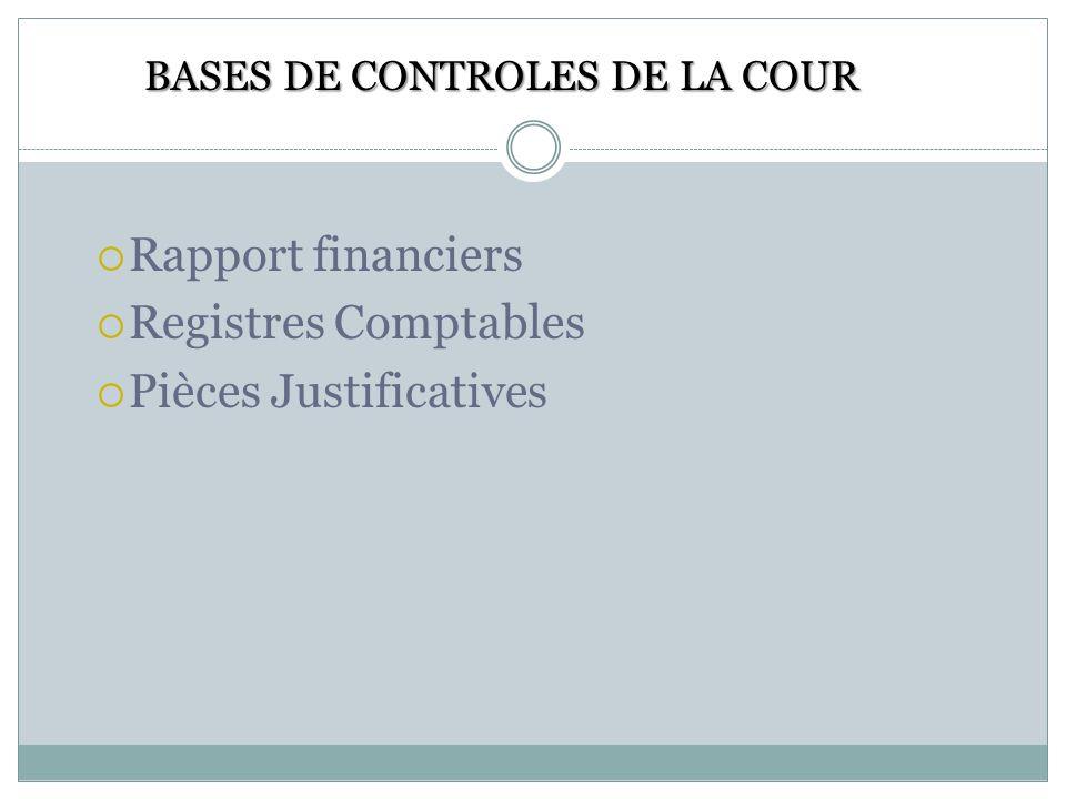 BASES DE CONTROLES DE LA COUR