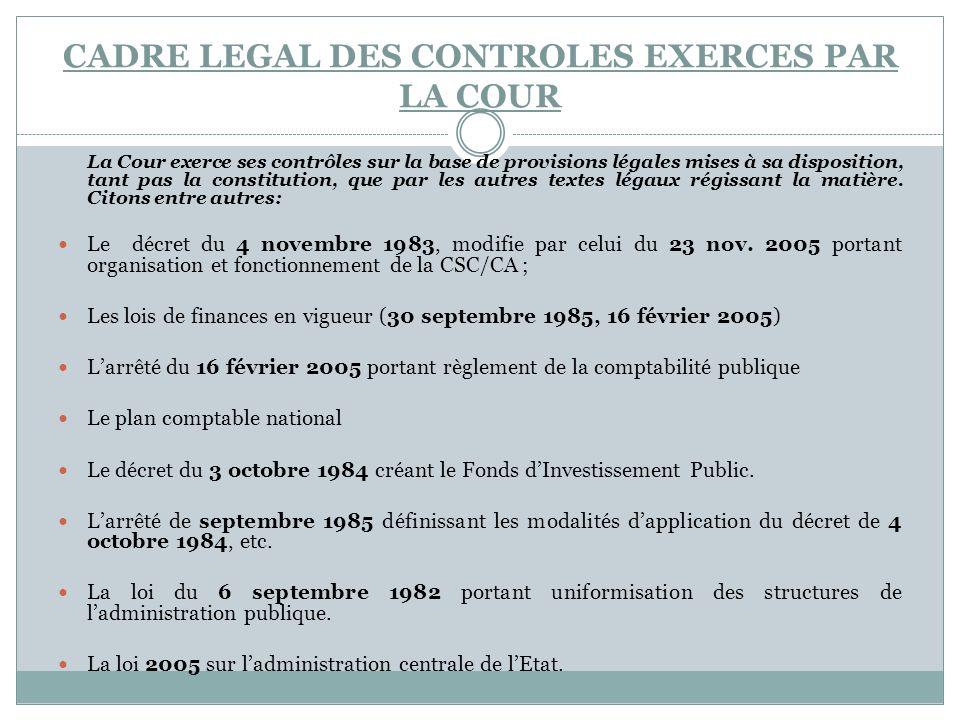 CADRE LEGAL DES CONTROLES EXERCES PAR LA COUR