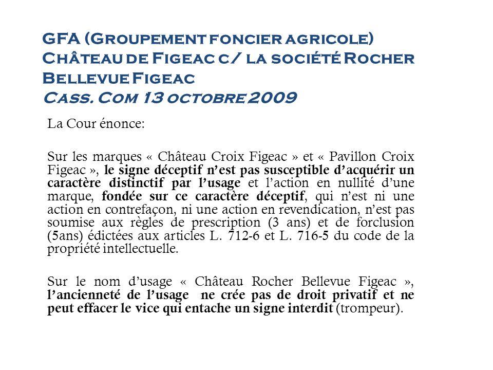 GFA (Groupement foncier agricole) Château de Figeac c/ la société Rocher Bellevue Figeac Cass. Com 13 octobre 2009