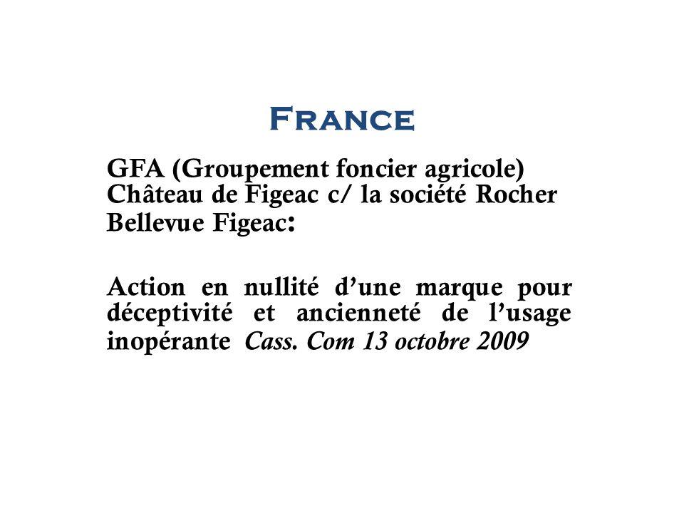 France GFA (Groupement foncier agricole) Château de Figeac c/ la société Rocher Bellevue Figeac: