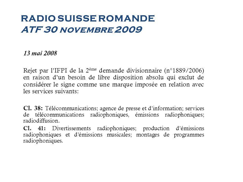 RADIO SUISSE ROMANDE ATF 30 novembre 2009