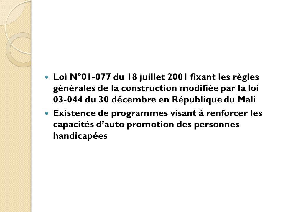 Loi N°01-077 du 18 juillet 2001 fixant les règles générales de la construction modifiée par la loi 03-044 du 30 décembre en République du Mali