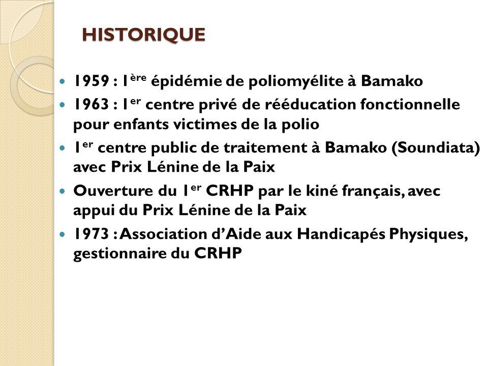 HISTORIQUE 1959 : 1ère épidémie de poliomyélite à Bamako