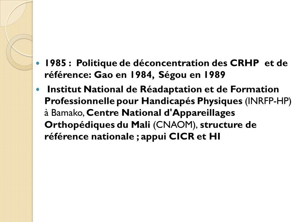 1985 : Politique de déconcentration des CRHP et de référence: Gao en 1984, Ségou en 1989