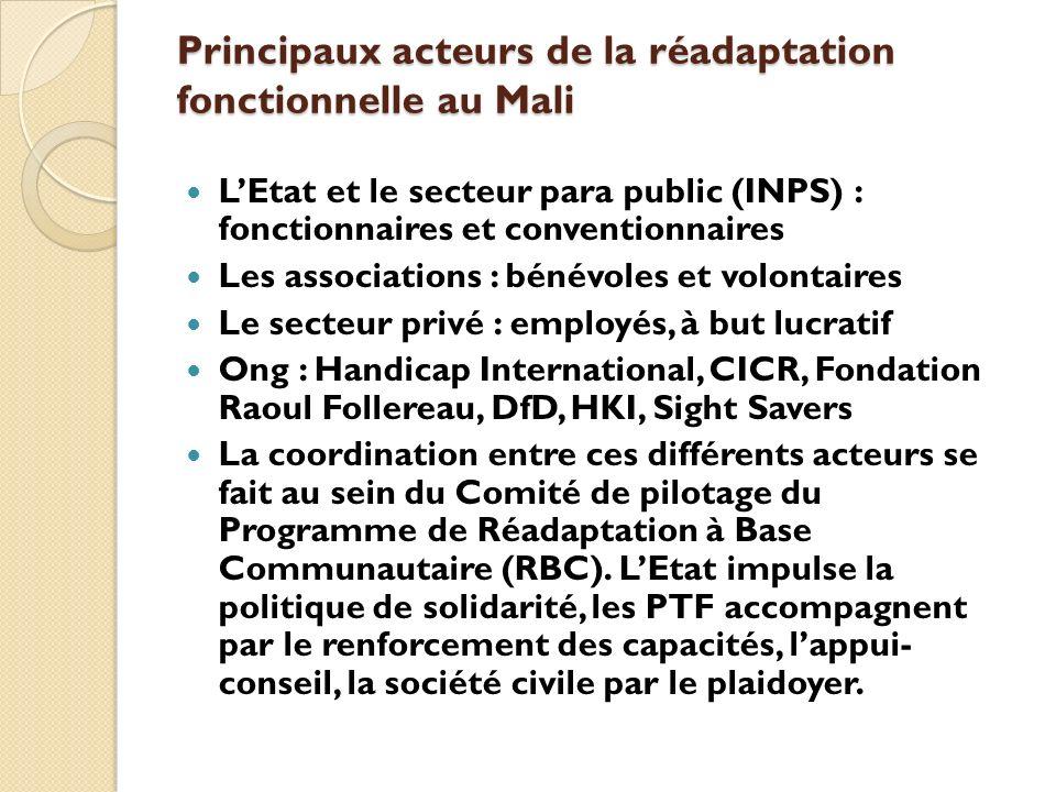 Principaux acteurs de la réadaptation fonctionnelle au Mali