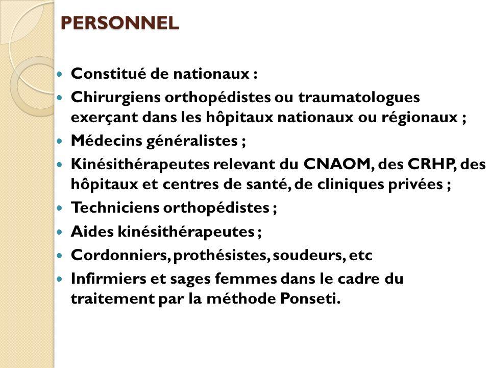 PERSONNEL Constitué de nationaux :