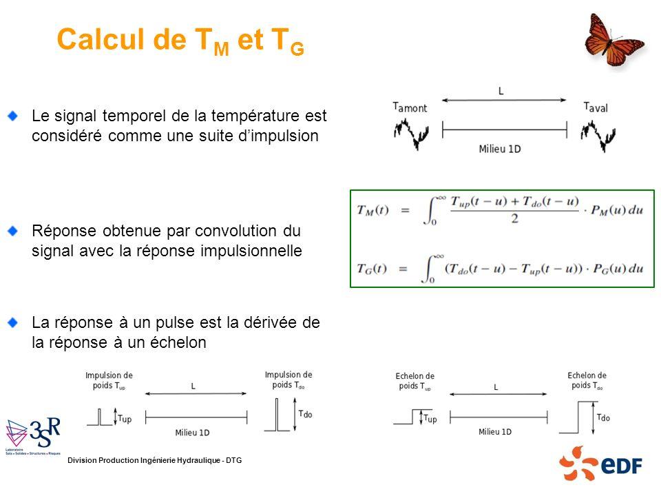 Calcul de TM et TG Le signal temporel de la température est considéré comme une suite d'impulsion.