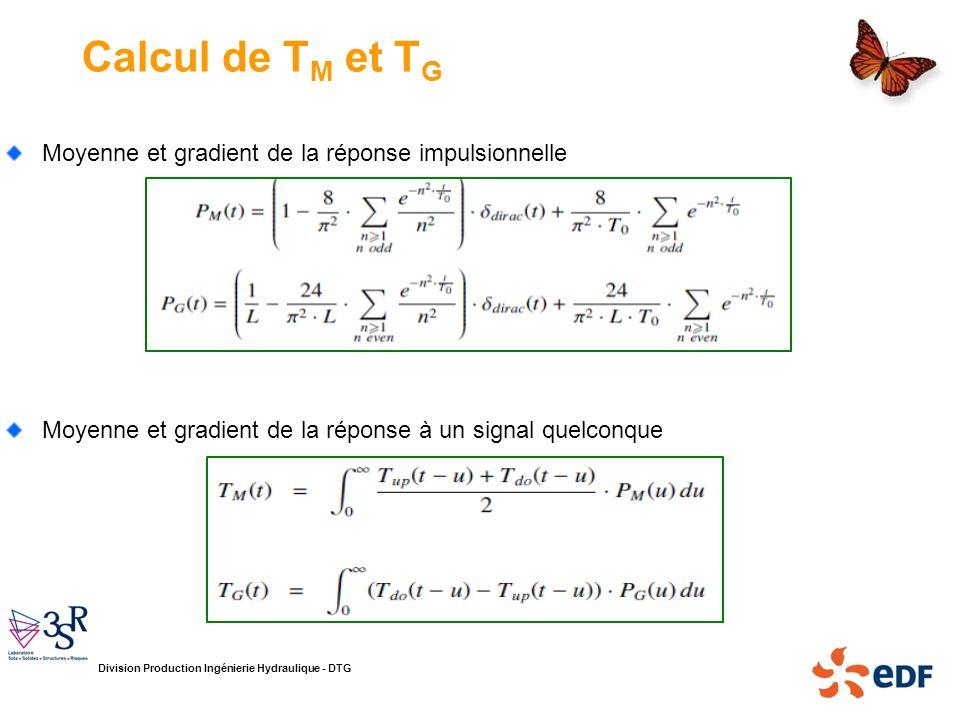 Calcul de TM et TG Moyenne et gradient de la réponse impulsionnelle