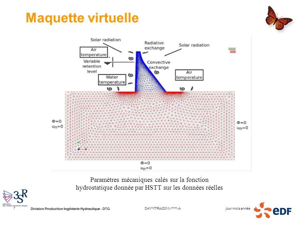 Maquette virtuelle Paramètres mécaniques calés sur la fonction hydrostatique donnée par HSTT sur les données réelles.