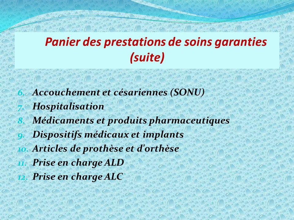 Panier des prestations de soins garanties (suite)