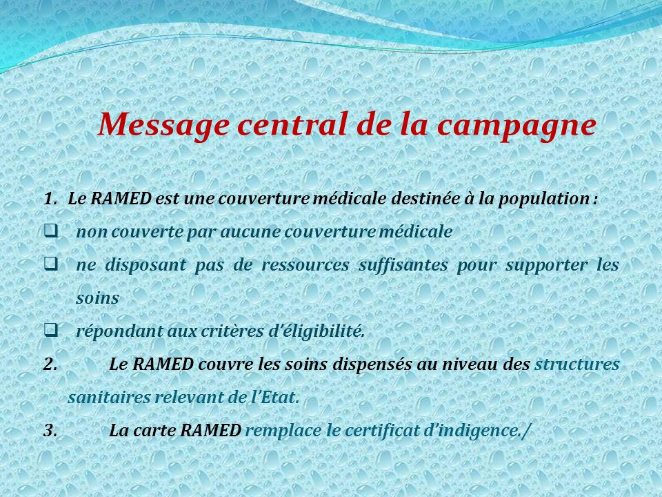 Message central de la campagne